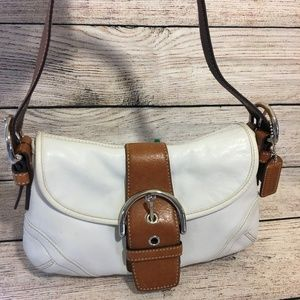 COACH SOHO White/Brown Leather Flap Shoulder Bag